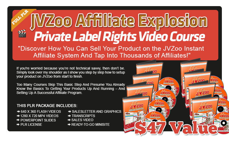 JVZoo Affiliate Explosion PLR Video Course